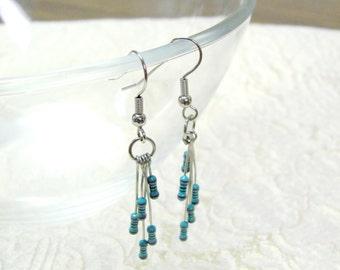 Turquoise Resistor Dangle Earrings -- Eclectic