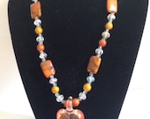 Necklace,Crystal,glass,White,orange, orange stone, chysocolla,lobster claw clasp