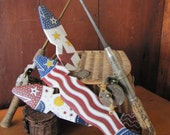 Hand Painted Patriotic Fish Made From Salvaged Picket Fence
