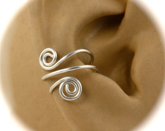 Sterling Silver Pair of Ear Cuffs, Spiral Wire Ear Cuff, Cartilage Cuff, Ear Wrap, Non Pierced, Celtic Ear Cuff, Renaissance Ear Cuff