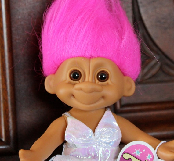 Vintage LARGE Russ Tracey Troll in prom dress posable troll