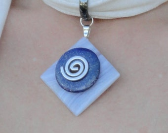 Chakra Balancing Scarf Necklace with Reiki-Attuned Blue Lace Agate & Lapis Lazuli pendant - Gift for her