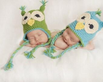 ONE Baby owl hat, earflap hat, photographer prop, halloween costume, crocheted, handmade