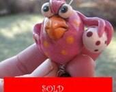 Pissed of chicks for easter  / Förbannad påsk höna ( evil  pink  with orange dots)
