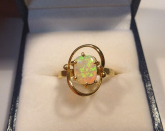 Ladies Opal Ring 14ct Yellow Gold  Claw Set Free Form Solid Opal. item 30096.