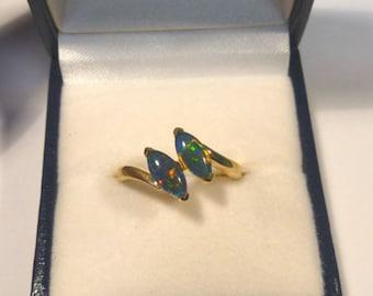 Ladies Opal Ring 14ct Yellow Gold 2 X 8x4mm Navette Shape Claw Set  triplets. item 30973.
