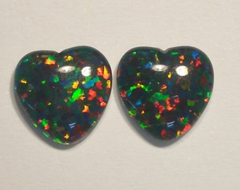 Synthetic Loose Triplet Opal Stone 10mm Heart pair item 5586.