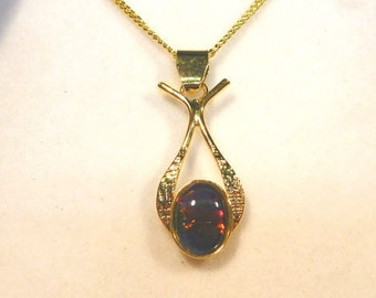 Opal Pend Triplet Sterling Silver Gold Plate 8x6 mm Oval.item 40242.