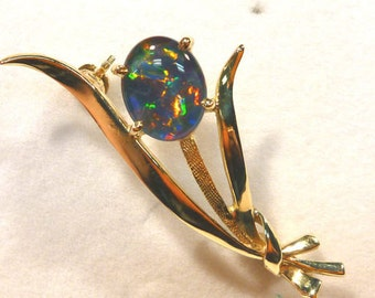Opal Brooch Triplet 14ct Yellow Gold. 10x8 Oval .item 40276.