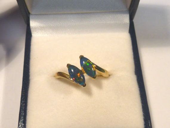 Ladies Opal Ring 14ct Yellow Gold 2 X 8x4mm Navette Shape Claw Set  triplets. item 30973.