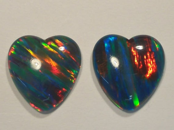 Loose Synthetic Triplet Opal Stones 15 x 14mm Heart  Matching Pair Item 5601.