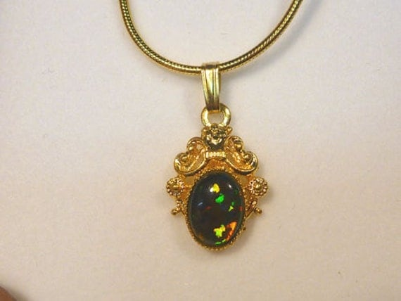Vintage style Gold Plate Pendant. Synthetic Opal Triplet 8x6mm Oval. item 30993.