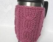 Knitted Mug Cozy, Purple Cup Cozy, Tea Cup Cozy, Knit Mug Cozy
