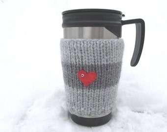 Christmas Coffe Cozy,Knitted Grey Mug Cozy,Grey striped mug/ cup cosy with 2 red heart, ideal  gift, knitted, valentines gift.