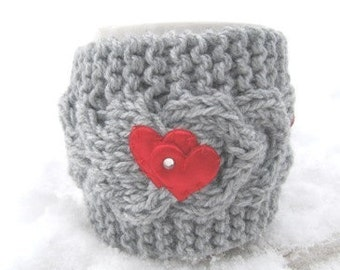 Valentines gift,Christmas Mug Cozy,Red heart Mug Cozy, Tea Cup Cosy, Mug Warmer knitted, grey color - Gift for Mom, CHOOSE YOUR COLOR