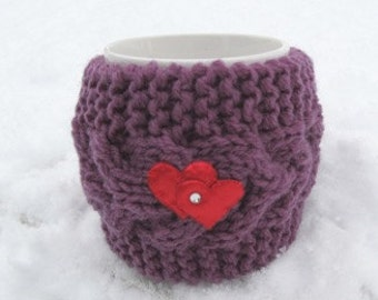 Red heart Mug Cozy, Cup Cosy, Mug Warmer knitted, purple color