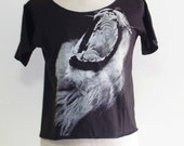 Lion King Animal Style Fashion Art Lion Shirt Drak Gray T-Shirt Crop Top Tee Shirt Screen Print Size M