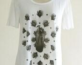 Peacock Bird Animal Style Women T-Shirt White Shirt Short Sleeve T-Shirt Art T-Shirt Screen Print Size M