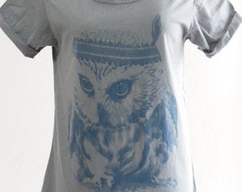 Baby Owl Cute Indian Apache Style Art Fashion Design Gray T-Shirt Art T-Shirt Screen Print Size M