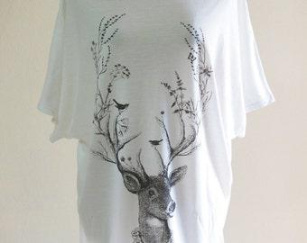 Princess Reindeer Bird Vine Nature Art Design Style Bat Sleeve Women T-Shirt White Short Sleeve T-Shirt Oversize Screen Print Free Size