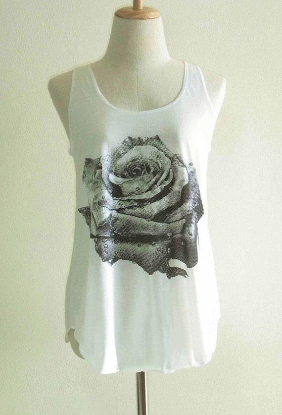 Rose Flower Design Modern Art Style Rose Tank Top Girl Teens Women Shirt Cream Tunic Screen Print Size S