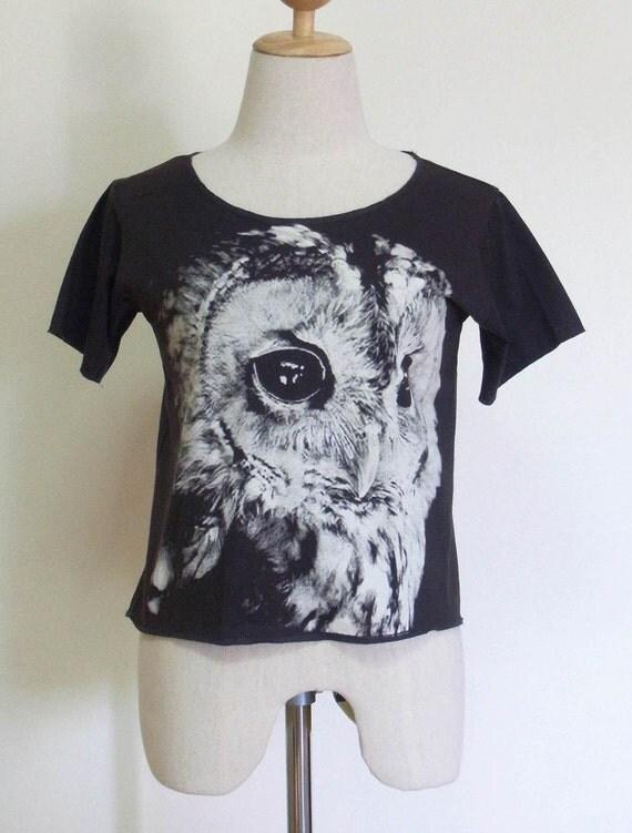 Owl Hoot Animal Style Black T-Shirt Crop Top Tee Shirt Screen Print Size M