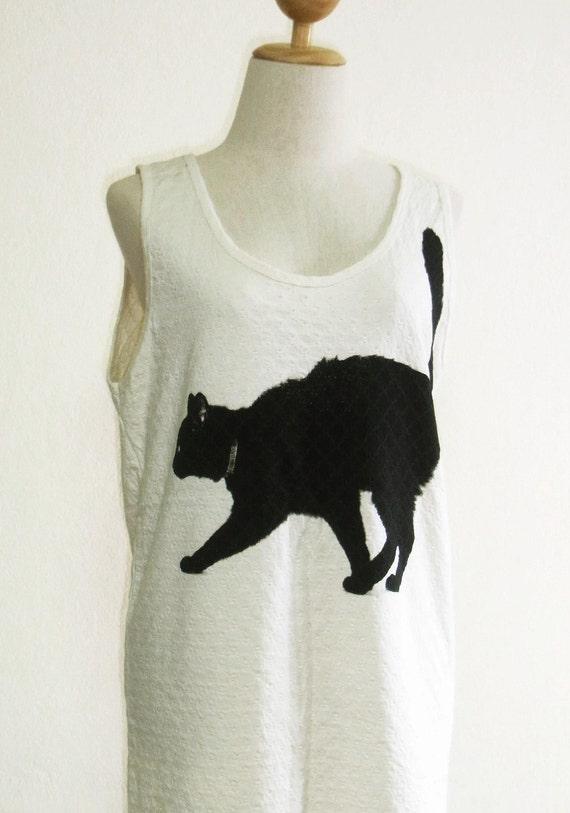 Black Cat Animal Style Cat Tank Top Women T-Shirt Cream Tunic Screen Print Size M