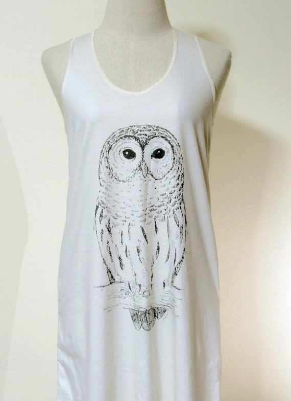 Owl Bird Cute Animal Style Animal Fashion Mini Dress Women Cream Dress Owl T-Shirt Screen Print Size M