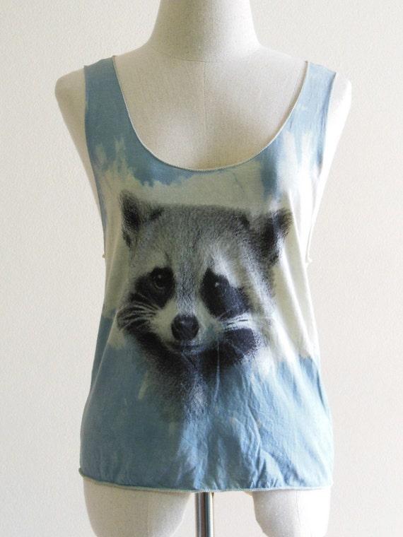 Raccoon Face Animal Style Tank Top Blue Dyed Fabrics Screen Print Women Crop Top Tee Shirt Raccoon T-Shirt Size S