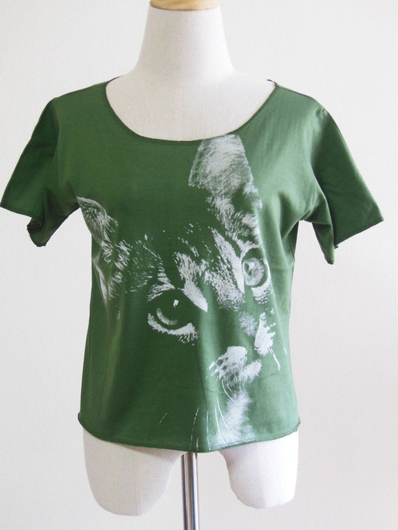 kitten Cat  Animal Style Screen Print Women Crop Top Tee Shirt Green T-Shirt Cat T-Shirt Size M