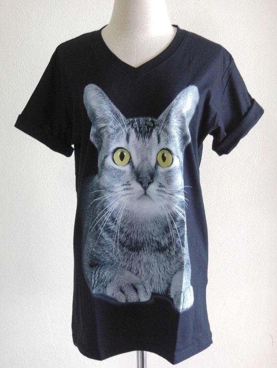 Cat Yellow Eyes Animal Style Black T-Shirt Cat T-Shirt V-Neck Unisex Screen Print Size M