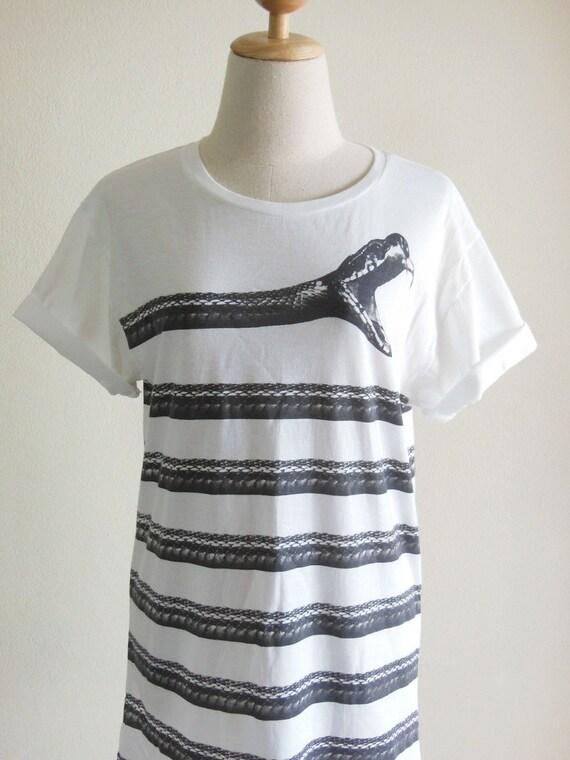 Snake T-Shirt Animal Style Unisex T-shirt Men T Shirt Women T Shirt White T-Shirt Screen Print Size M