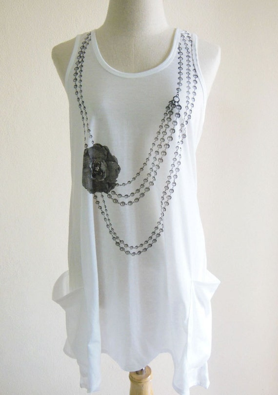 Necklace Flower Flora Blossom Art Design Fashion women Tshirt Women Tank Top White Tank Top Mini Dress Screen Print Size M