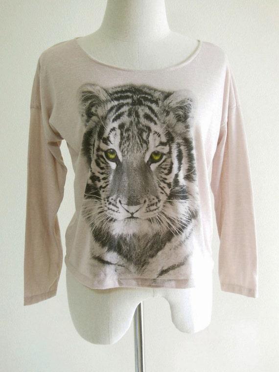 Tiger Animal Style Animal T-Shirt Long Sleeved T-Shirt Pink Old Rose T-Shirt Screen Print Size M