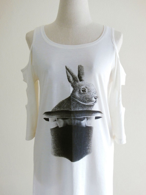 Rabbit Hat Magic Cute Pet Art Design Animal Style Fashion Modern 3/4 Long Sleeved Women Cream Mini Dress Screen Print Size S