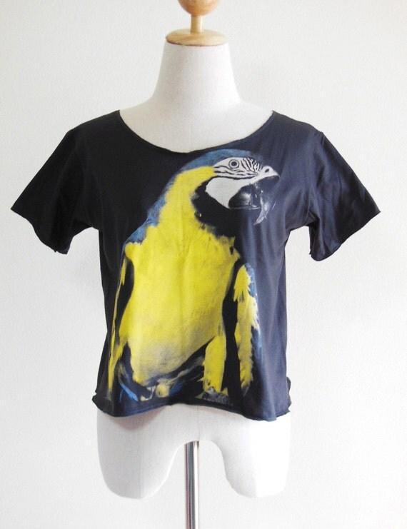 Yellow Parrot Animal Women Crop Top Tee Shirt Black T-Shirt Parrot T-Shirt Screen Print Size  M