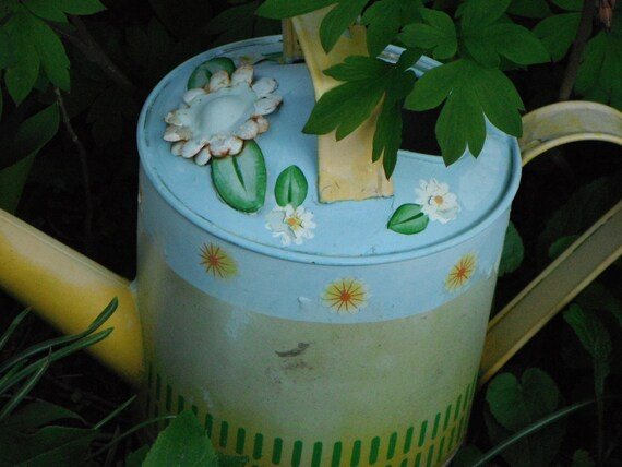 Shabby Chic Yellow and Blue Tin Watering Can, Free Shipping USA