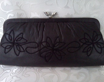 Vintage Leather Soutached Clutch