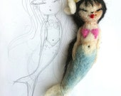 mermaid hello kokeshi doll needle felted hawaiian mermaid doll and doll charm