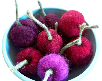 Felted Cherries Kitchen Play Food