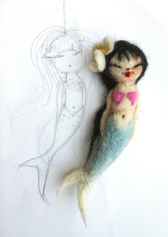 Woldorf doll / felted mermaid doll / doll charm
