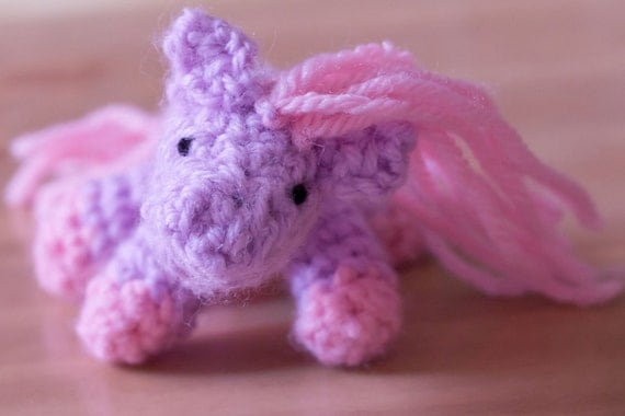 Small Crocheted Pink and Purple Pony