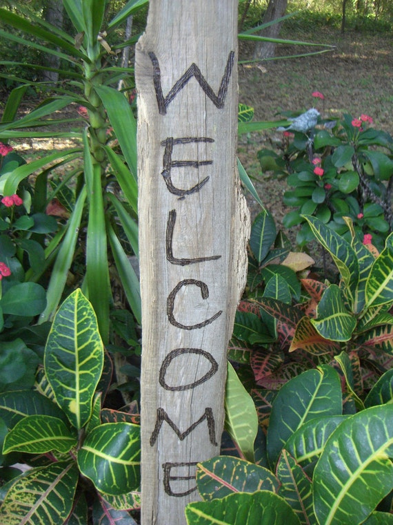 Rustic Welcome Sign, Reclaimed Lumber, Wood-burned Lettering