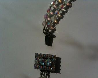 Beautiful, vintage aurora borealis bead double strand necklace 1950s 1960s free international posting shipping