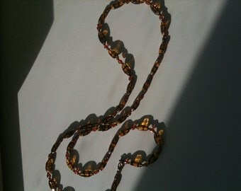 Brown amber glass bead necklace