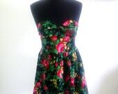 Vintage Floral Rose Print Dress