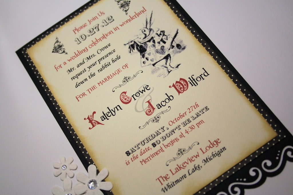 Alice In Wonderland Wedding Invitation Vintage In Appearance