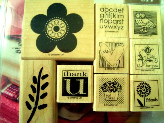 Rubber Stamp Sets Stampin'Up mounted  wooden blocks