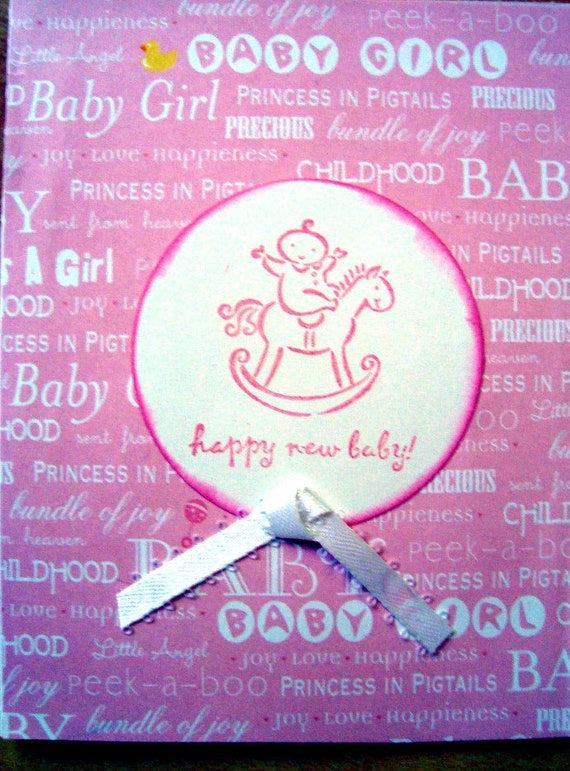 Happy New Baby, Rocking Horse, Pink, New Baby Girl, Welcome Baby Girl, birthday card