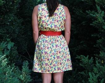 Classic Retro Vintage Yellow Floral Sun Dress